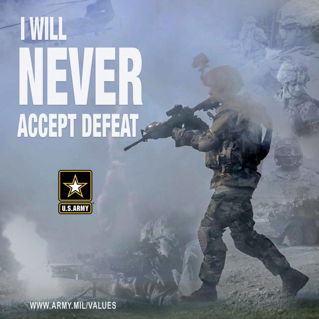 I will always place the mission first. I WILL NEVER ACCEPT DEFEAT. I will never quit. I will never leave a fallen comrade. Learn more about the #WarriorEthos ➡️ go.usa.gov/xG2wv #ArmyTeam