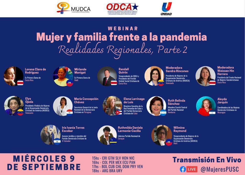 #ATENCION este miércoles 9 de septiembre, las Mujeres líderes de los partidos @ODCA continúan analizando las realidades de las #mujeres y la #familia frente a la #pandemia del #Covid_19 https://t.co/1lrs1DEm3L