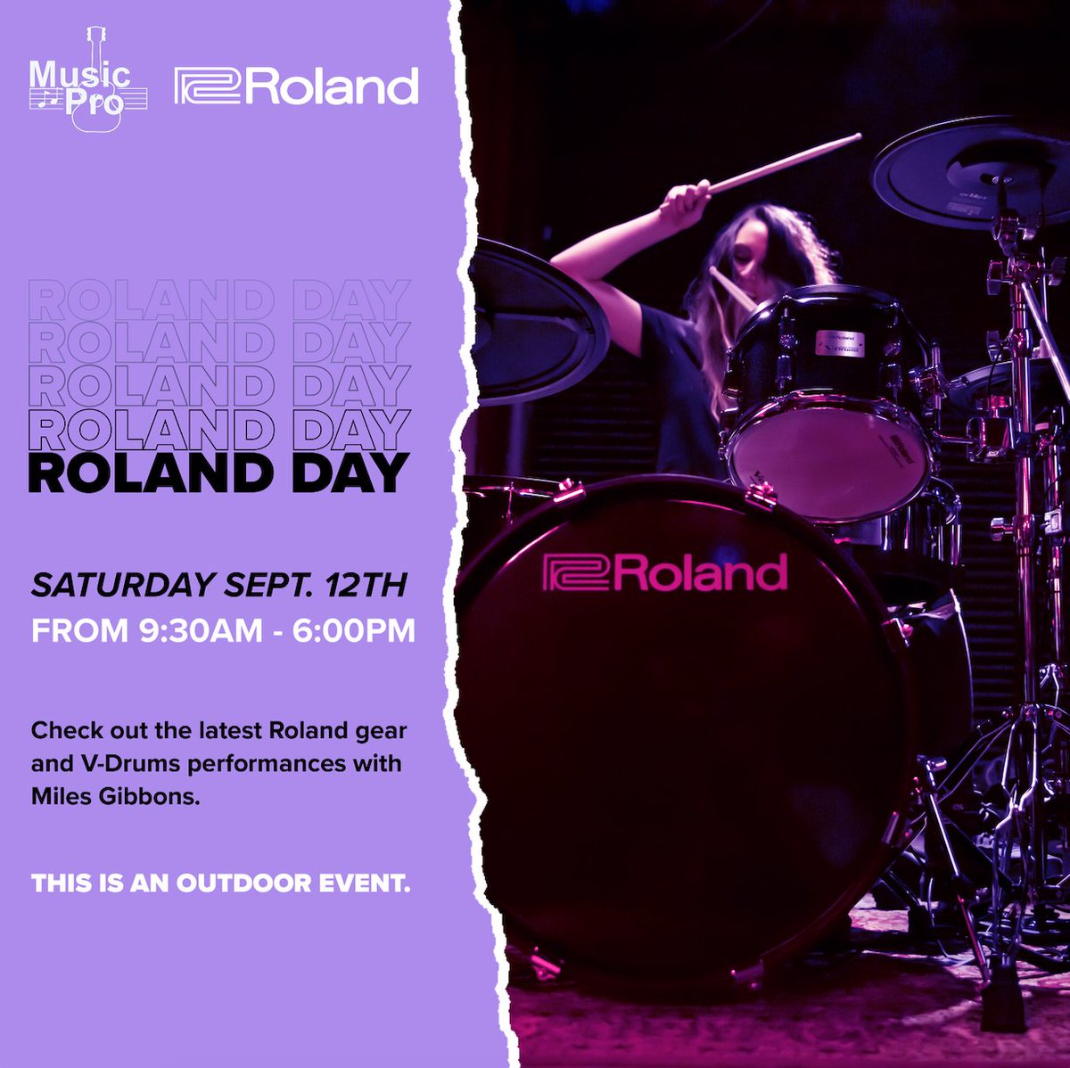 It's COMING!  Join us at Music Pro on SATURDAY, SEP 12TH for OUTDOOR Roland Day. There will be special V-Drum performances with Miles Gibbons and Roland specialist Matt Dunn will be giving product demos throughout the day.  For more info: https://t.co/3Orw06PwTn https://t.co/RpNX6HDm6H