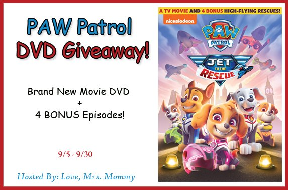 #WIN the NEW #PawPatrol Jet to the Rescue #DVD with 4 Bonus episodes! #GIVEAWAY #Nickelodeon #PawPatrolMovie #TVShow #Kids #Contest #Free #Freebie @Love_MrsMommy https://t.co/M5jqLNyyTN https://t.co/vDQMkOFZjC