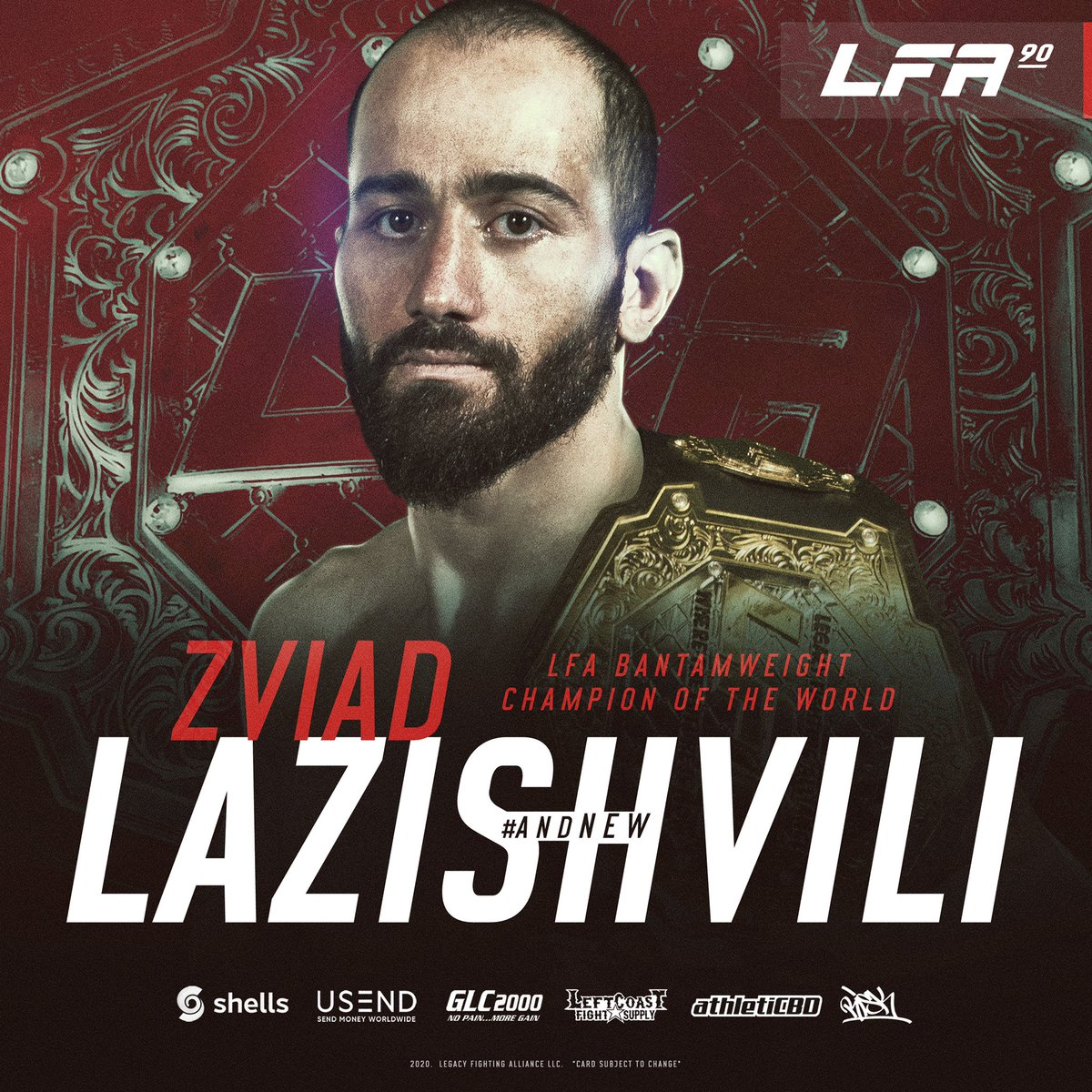 Congrats to @ZviadLazishvili on winning the @LFAfighting #bantamweight title in the main event of #LFA90! 👑  #andNEW  #MMA #LFANation @UFCFightPass https://t.co/a0ls1I3m5y