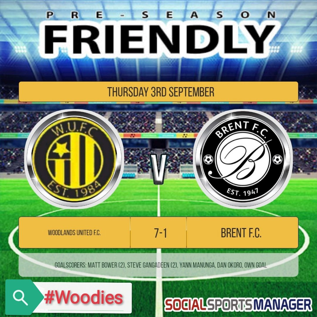 Our latest pre-season friendly ended  7-1 against @BrentFC After not taking our chances in our last game the team responded in style scoring early & leading 4-0 at HT. Brent pulled 1 back but 3 quick goals at the end sealed the win.  Good luck to Brent for the season!  #Woodies https://t.co/T8qExeec6H