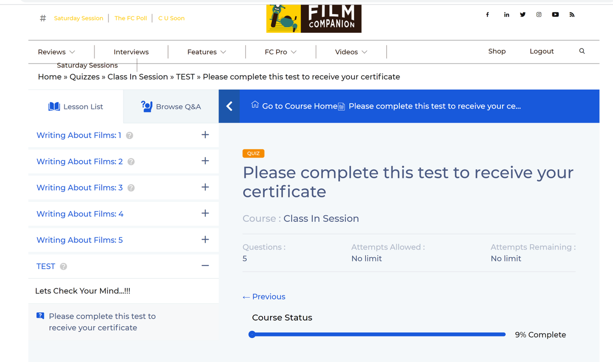 Recently undertook #WritingAboutFilms an online critical writing course affiliated and curated by @FilmCompanion. Right after the 'lessons' were over, I was directed to complete a 'quiz' or test myself to receive my certificate. but all I see is a blank page with no questions? https://t.co/BcW9FsQDVC