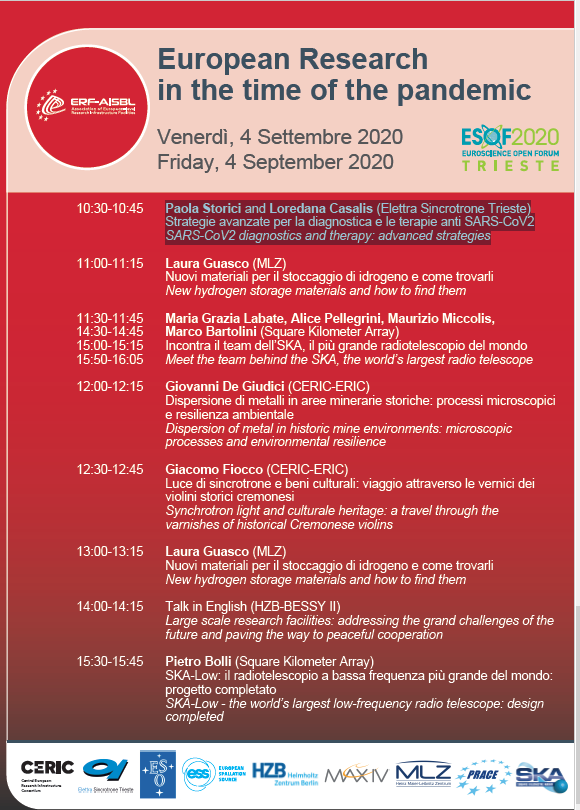 Today (5 Sept) at 10:30-10:45 at #ESOF2020 Paola Storici and Loredana Casalis (Elettra Sincrotrone Trieste) member of #Exscalate4CoV present: Strategie avanzate per la diagnostica e le terapie anti SARS-CoV2 SARS-CoV2 diagnostics and therapy: advanced strategies. https://t.co/gvzYoKo91T