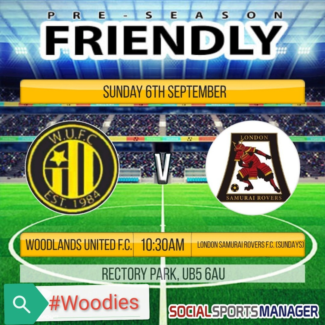 Our next pre-season friendly sees us take on @LondonSundays tomorrow at @middxfa @RectoryParkFC UB5 6AU  Kick Off is at 10:30am  #Woodies https://t.co/GNrH4jS3j3