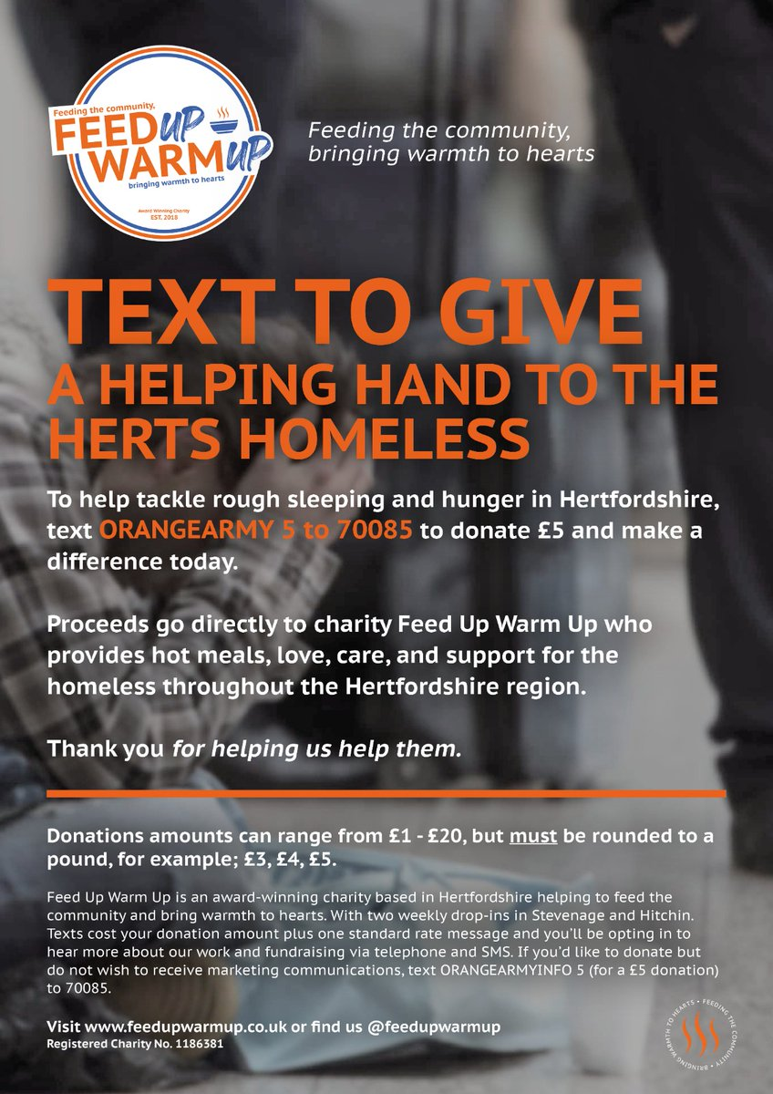 🧡 You can now help us feed the #Hertfordshire homeless from your phone  👉 TEXT ORANGEARMY 5 to 70085 to donate £5 👈  We thank you for your kind support.  #OrangeArmy | #CharityDay 🟠 https://t.co/TTUipEyjYG