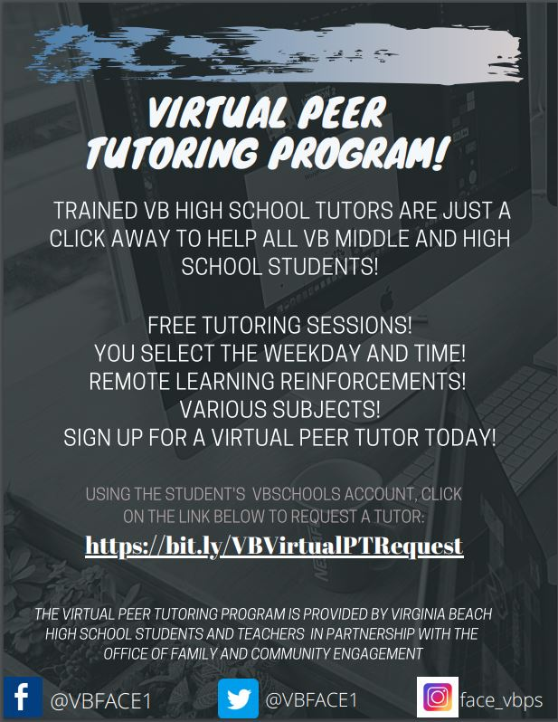 VB Students: Need help in one of your classes this year? Trained peer tutors are here to help!