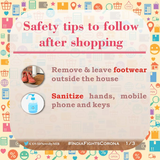 #IndiaFightsCorona:  📍 Safety tips to follow after shopping👇  ✅ Sanitize hands, mobile & Keys ✅ Keep shopping bags at a designated/isolated place ✅ Take Bath and put used clothes separately, till you wash them  #StaySafe #IndiaWillWin https://t.co/kDv6N2sCip