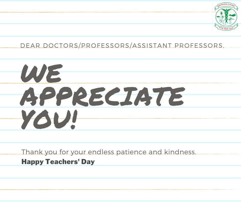 Thank you for making each subject interesting, for your constant guidance & facilitating a positive learning environment. We are grateful for having such passionate doctors as our professors to guide us towards an enlightening future.   #HappyTeachersDay https://t.co/f7Fr3I8Wav