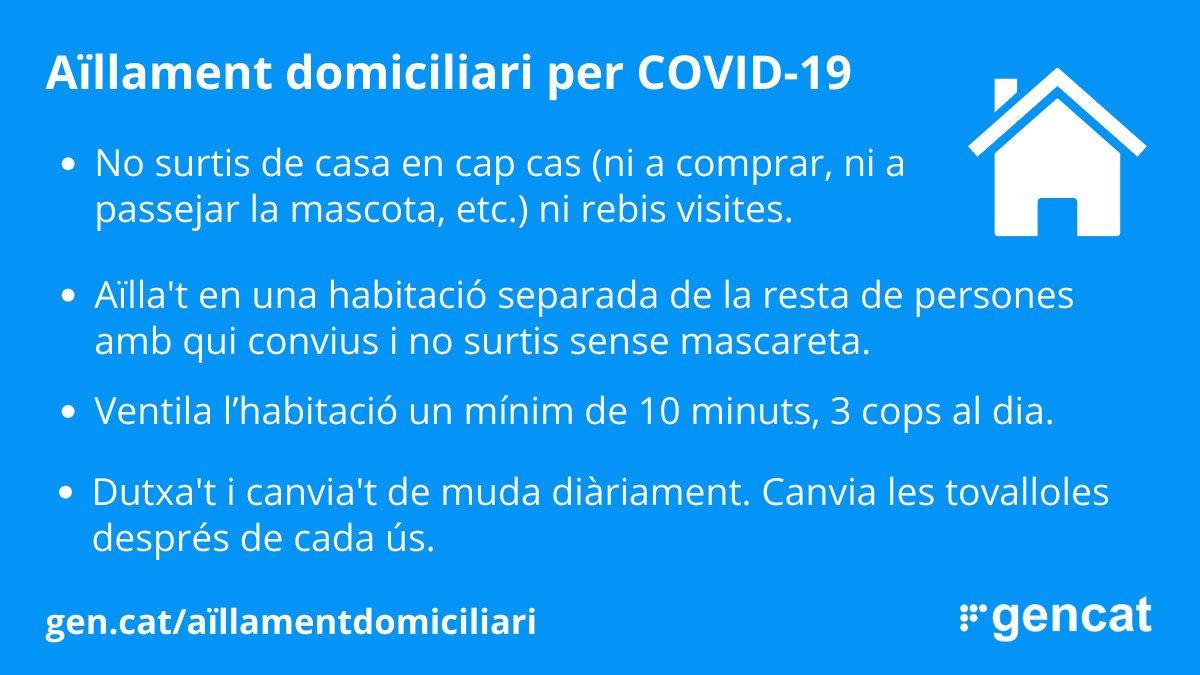 🏠 Si ets positiu de COVID19, en tens símptomes i encara no saps el resultat o has estat en contacte estret amb un cas confirmat, cal que facis #aïllament domicilari. #FrenemLaCorba #QuedatACasa https://t.co/VKm09SQ6V3
