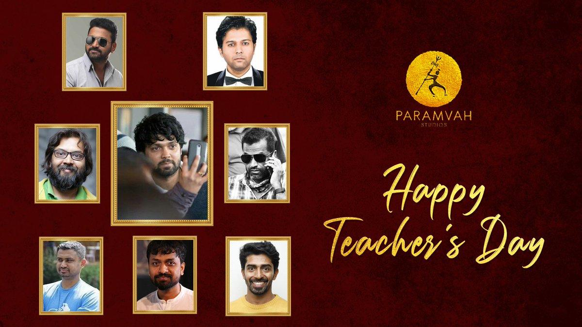 Team @ParamvahStudios wishes a very Happy Teachers Day to the teachers of the art of story telling ❤️ @rakshitshetty @shetty_rishab @SaadKhanCS #AravindKaushik @sennaHEGDE #KarthikSaragur @SachinBRavi @Kiranraj61 https://t.co/nic0UYhZtn