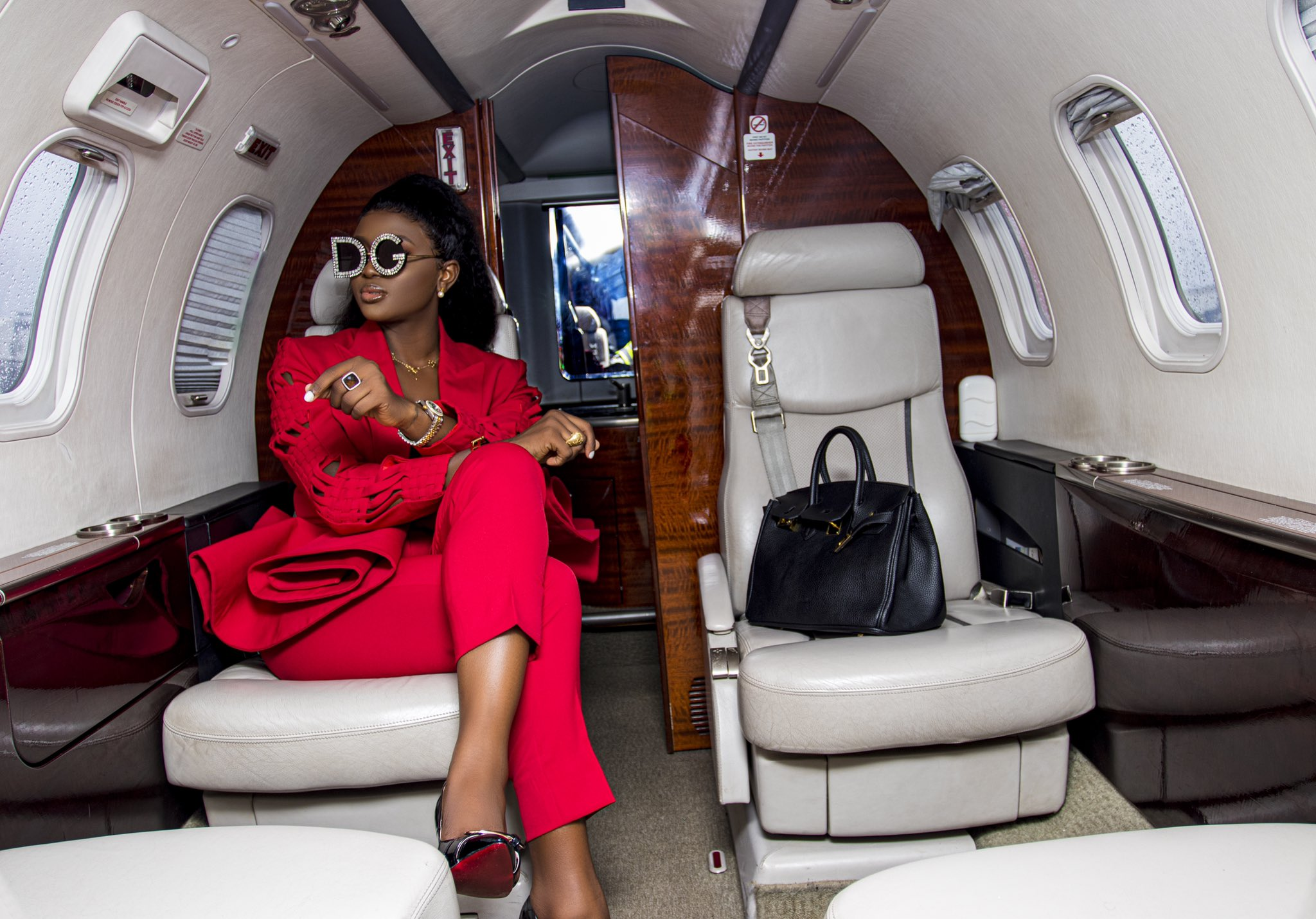 BBNaija 2020 Star Ka3na breaks the internet with red outfit on board a private jet