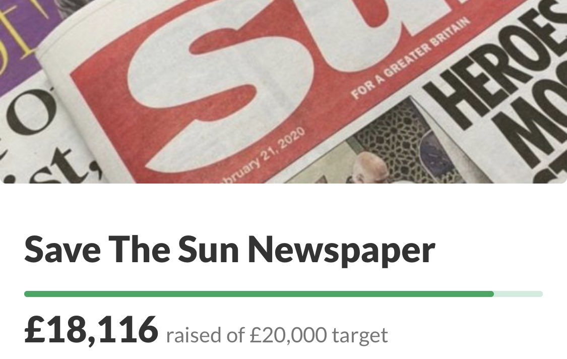 I've already raised more than £18,000 for The Sun newspaper after their sales were badly hit by the reckless actions of Extinction Rebellion today.   Please RT and donate - https://t.co/osQUVJWv9q  #buyapaper https://t.co/l8XwJXC08S