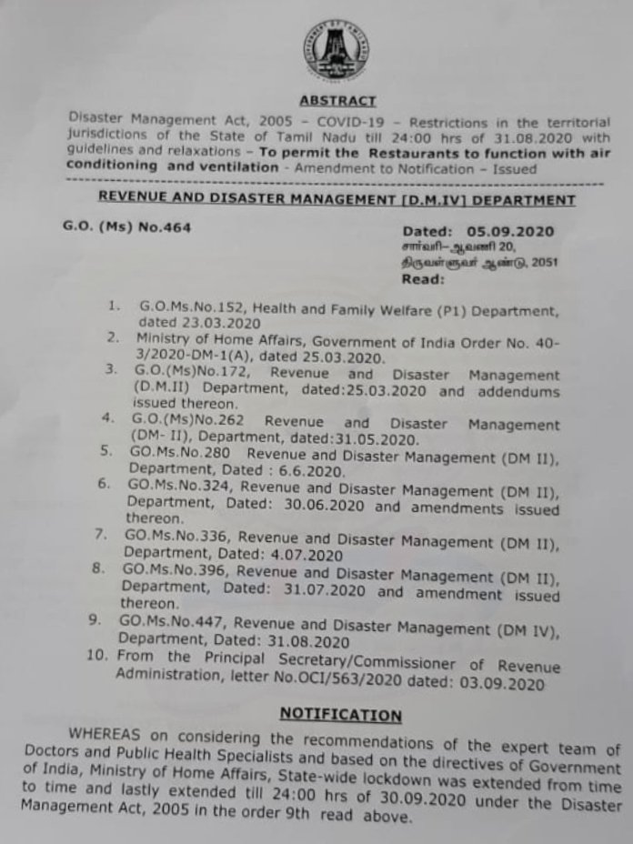 #TamilNadu government permits restaurants to function with air-conditioning and ventilation facilities between 6 am and 8 pm by following guidelines issued in this regard. https://t.co/liTZv29HyD