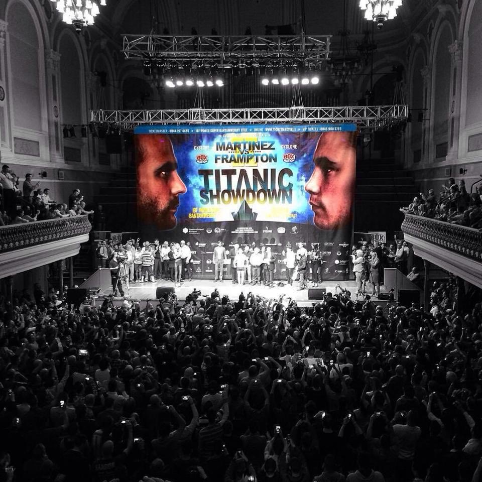 Love this pic, 6 years since @RealCFrampton & @MartnezKiko weighed it at Ulster Hall for @IBFUSBAboxing 122lb title.  Plenty of bands can't fill that iconic hall, this crowd for a weigh in was special.  Set the scene perfectly for the following night 🥊 https://t.co/R78w3P1YRM
