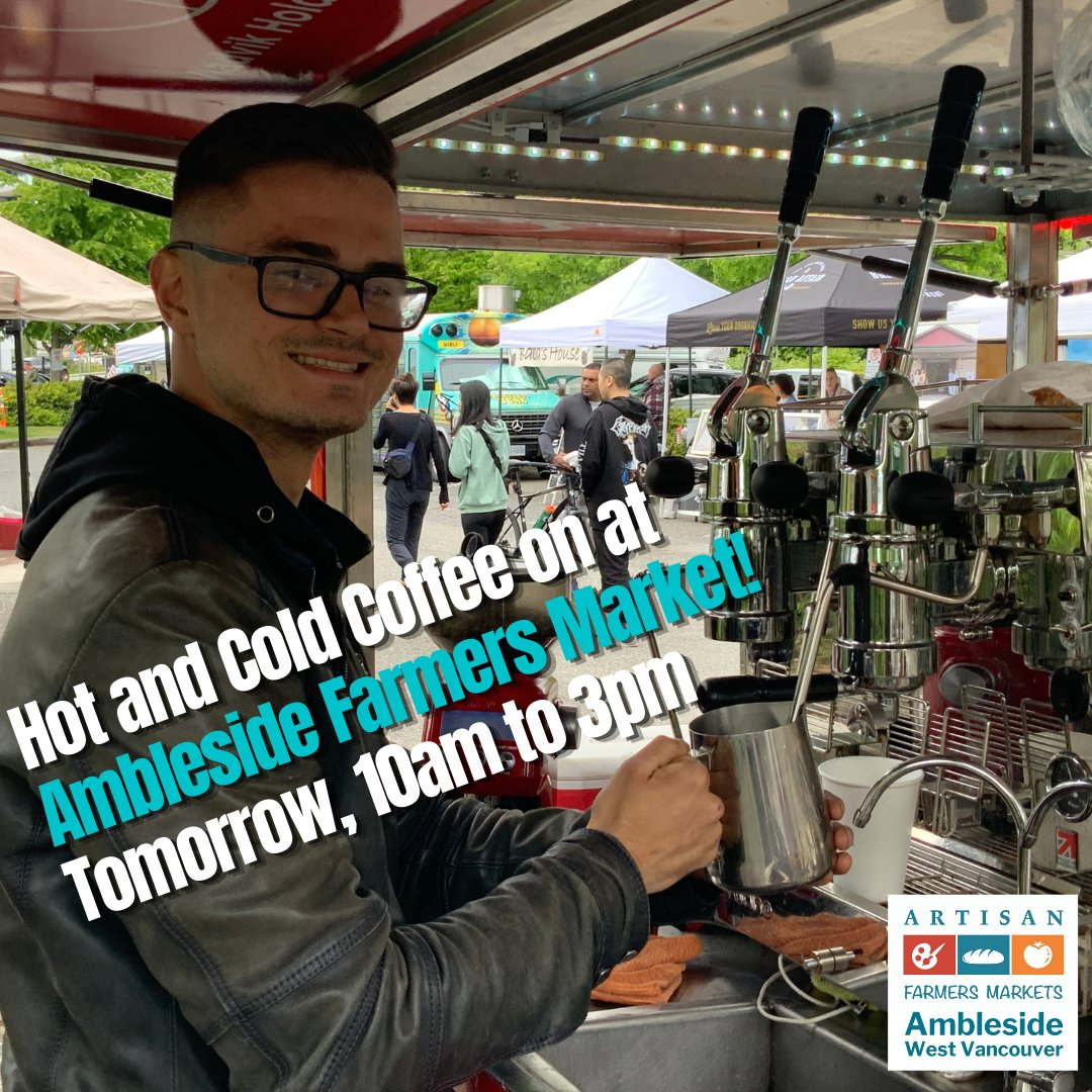 Enjoy Hot or Cold Coffee drinks as you visit Ambleside Farmers Market, Tomorrow, Sunday, 10am to 3pm! See you there! Coffee Bike Vancouver    #WestVancouver #wholefoods  #buylocalbc #bcbuylocal #eatdrinkbc #ediblevancouver #bctastesbetter #FarmersMarket #FarmersMarkets #BCAFM https://t.co/e3bqzRLVD8