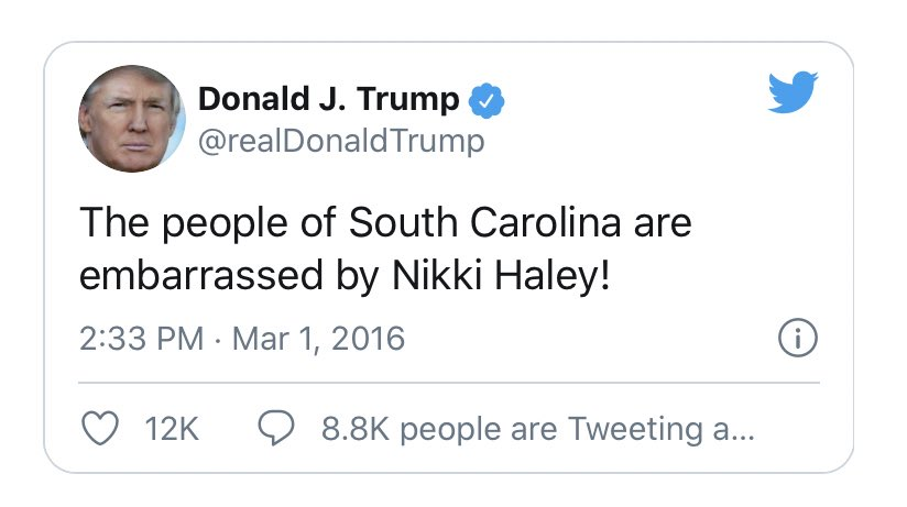 As Nikki Haley rushes to paint Trump as someone who tells the truth, I'm just going to leave this here.