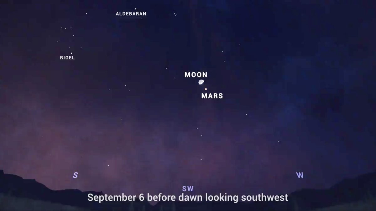 Earthlings, look up this weekend to see the Moon extremely close to Mars. In the early predawn sky on Sept. 6, you'll see that the Red Planet will appear in the same field of view as the Moon if you take a look with most binoculars. More skywatching tips: https://t.co/HTlEpYJJqp https://t.co/nEOO3U42oM