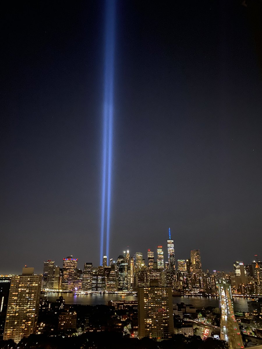 The 9/11 tribute in light is astounding. They tested it last night.  Never forget. https://t.co/NimAzfPzf9