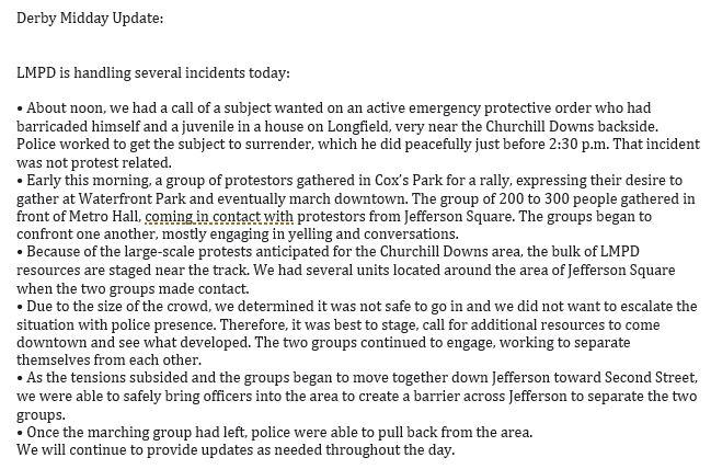 Midday Update #LMPD #Derby https://t.co/lrWoNJeXjd