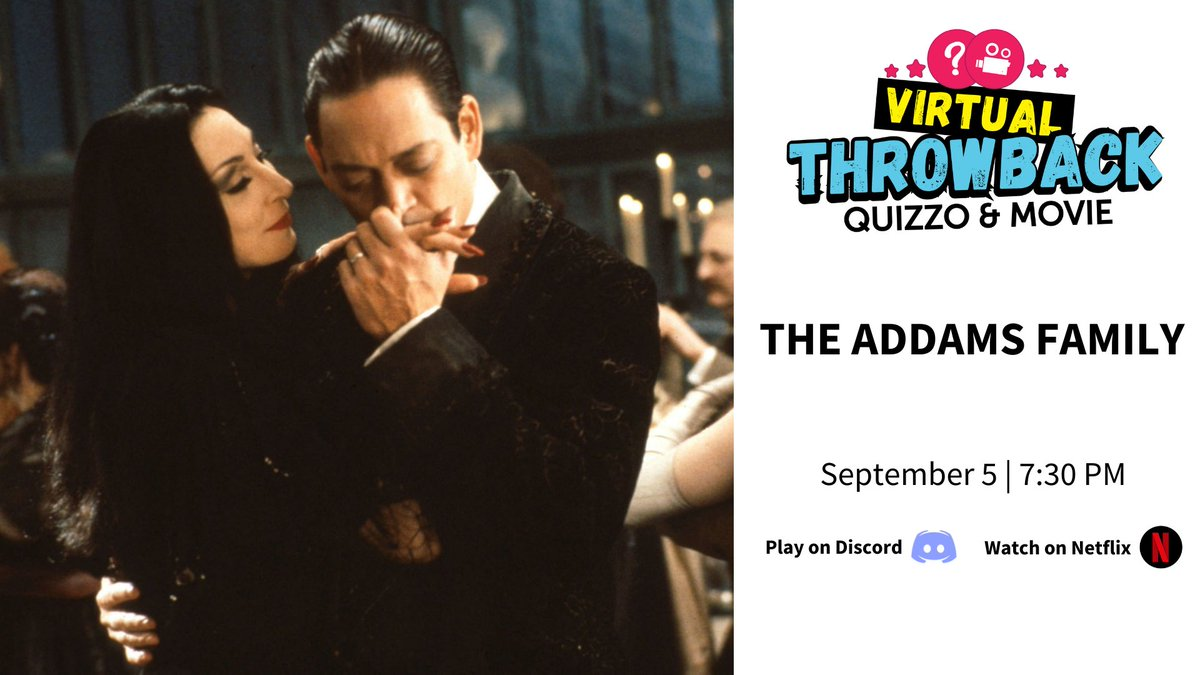 Don't forget that tonight you have plans with #THEADDAMSFAMILY!   Get your #quarantine circle together for Virtual #Throwback #Quizzo & Movie at 7:30 PM. ☠️🎃👻  Details: https://t.co/3PC3g5zVRI https://t.co/HwYyLxpy2q