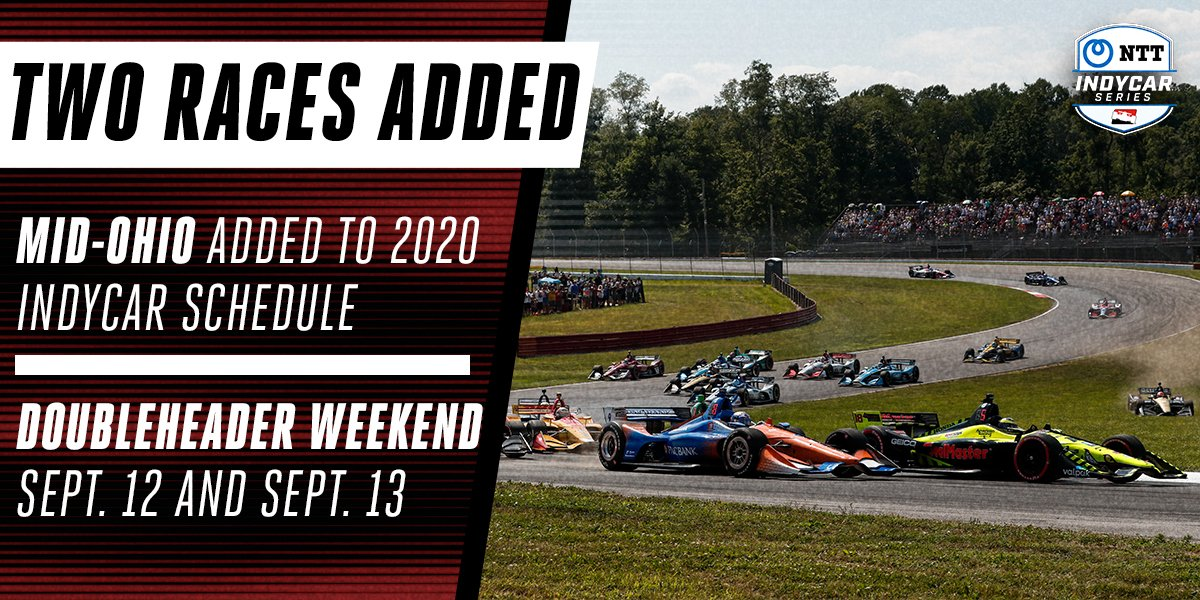🗣️ WE'RE GOING @INDYCAR RACING NEXT WEEKEND!  A @Mid_Ohio doubleheader is coming up!   Next Saturday on NBCSN, and next Sunday on @NBC! https://t.co/vLGyo7iBau