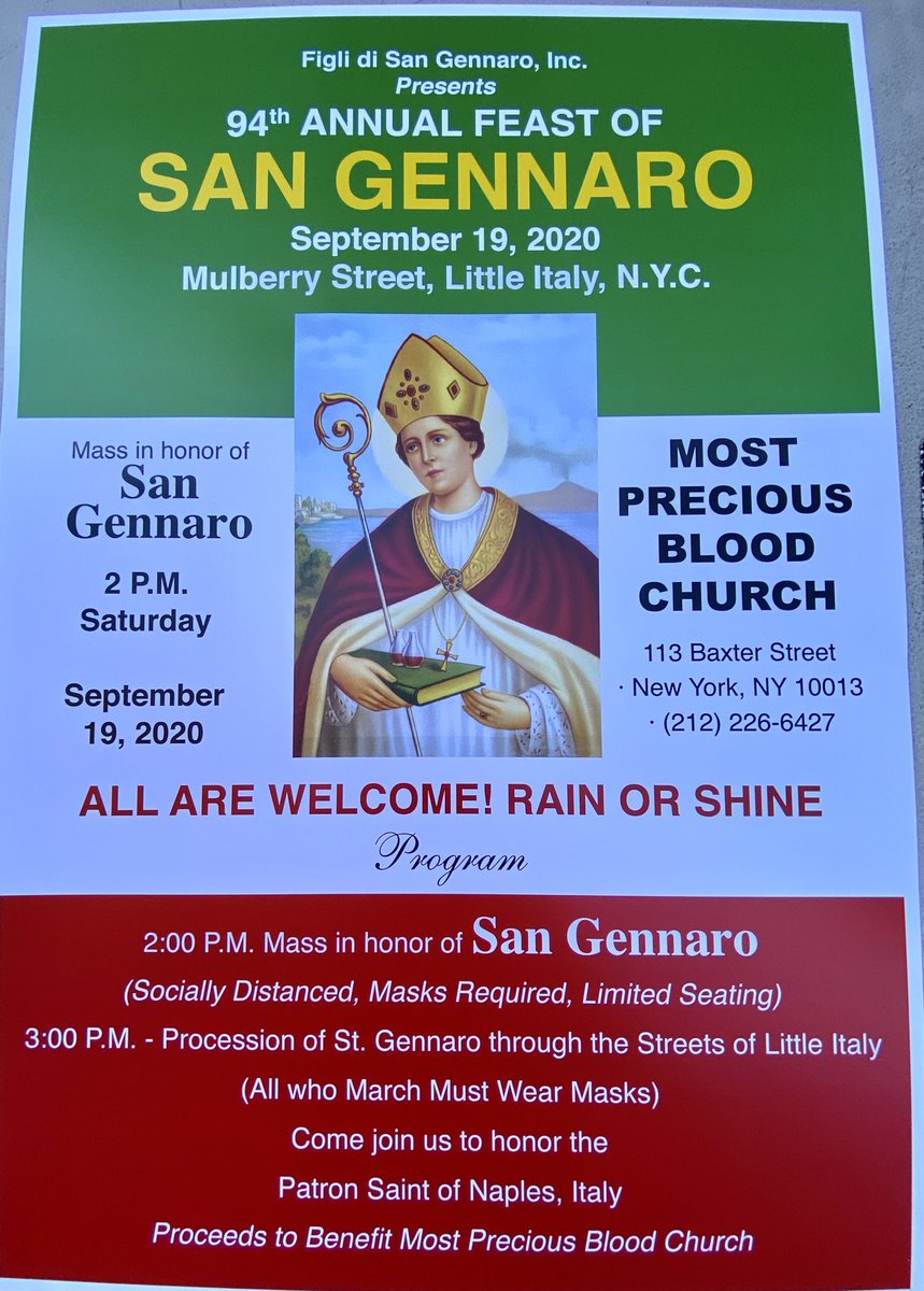 Mulberry Street Christmas Parade 2020 Nyc The Feast Of San Gennaro NYC (@SanGennaroNYC) | Twitter