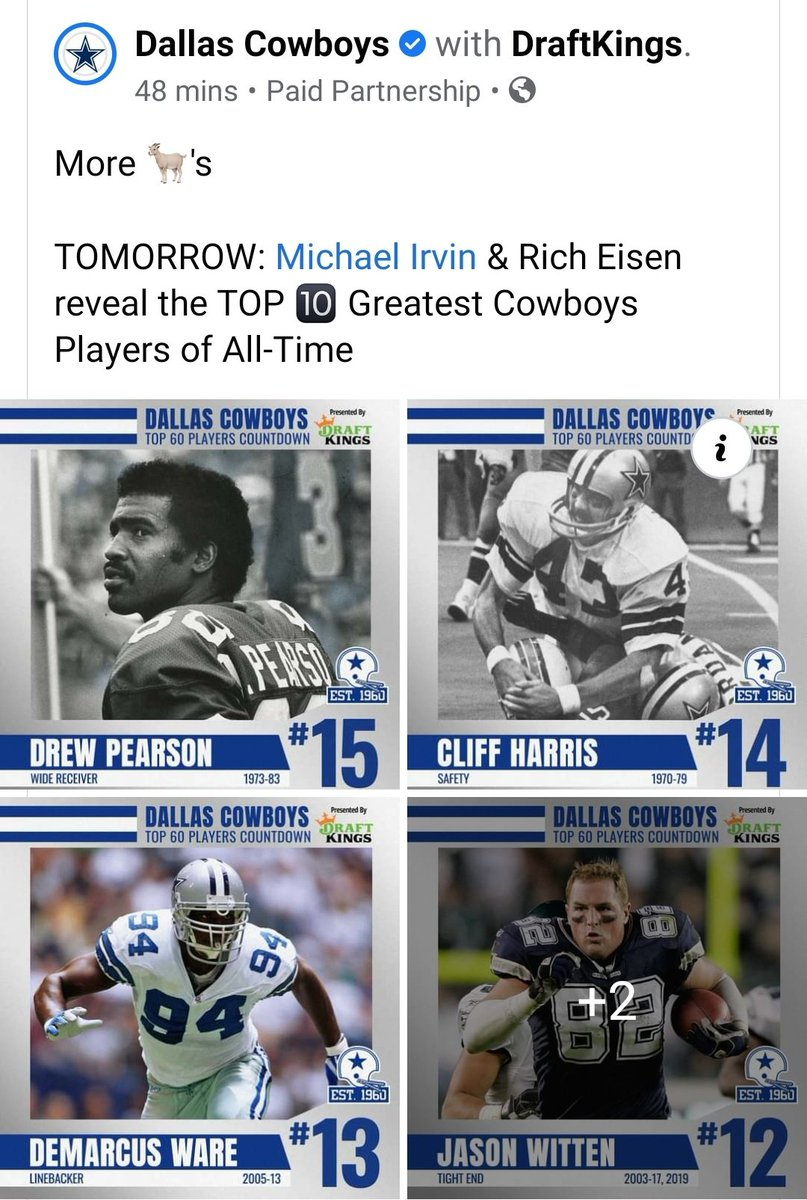 Go fam...#15 of All-Time Cowboy greats!!  #DrewPearson #88Club #Original88 #MrClutch https://t.co/3dg2NDD4sL