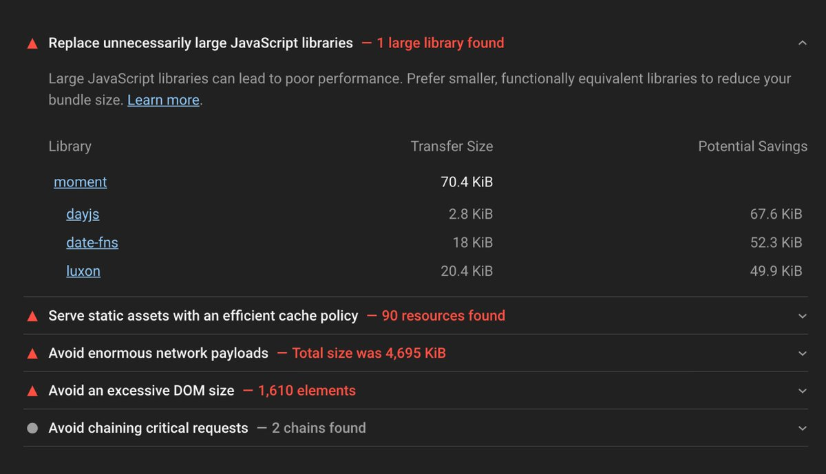 Replace unnecessarily large JavaScript libraries