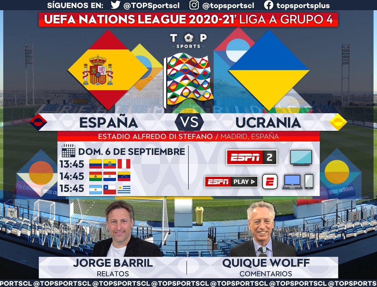 UEFA #NationsLeague 🏆⚽️ Liga A, Grupo 4 España 🆚 Ucrania 🎙️ Relatos: @Jorge_BarriL 🎙️ Comentarios: @wolffquique 🤳 #FÚTBOLxESPN #LaPasiónNuncaSeFue | #ESPUKR 📺 ESPN 2 Sudamérica 📱💻 ESPN Play 🔃❤️