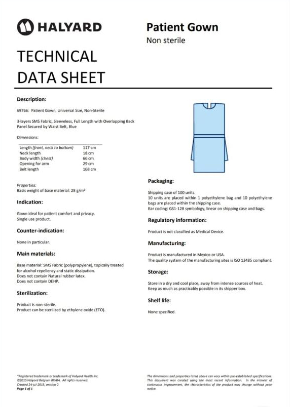 SPECIAL: Data Sheet - Halyard Patient Gowns - R19-00 each Blue Halyard Patient Gowns @ R19-00 incl. per unit (100 units per box). Universal size. Offering 3-layer SMS fabric, sleeveless, full length.  #MasksForAfrica #halyard #patientcare  #patientsfirst #patientgown #gowns #PPE https://t.co/jSTTWQkVzQ