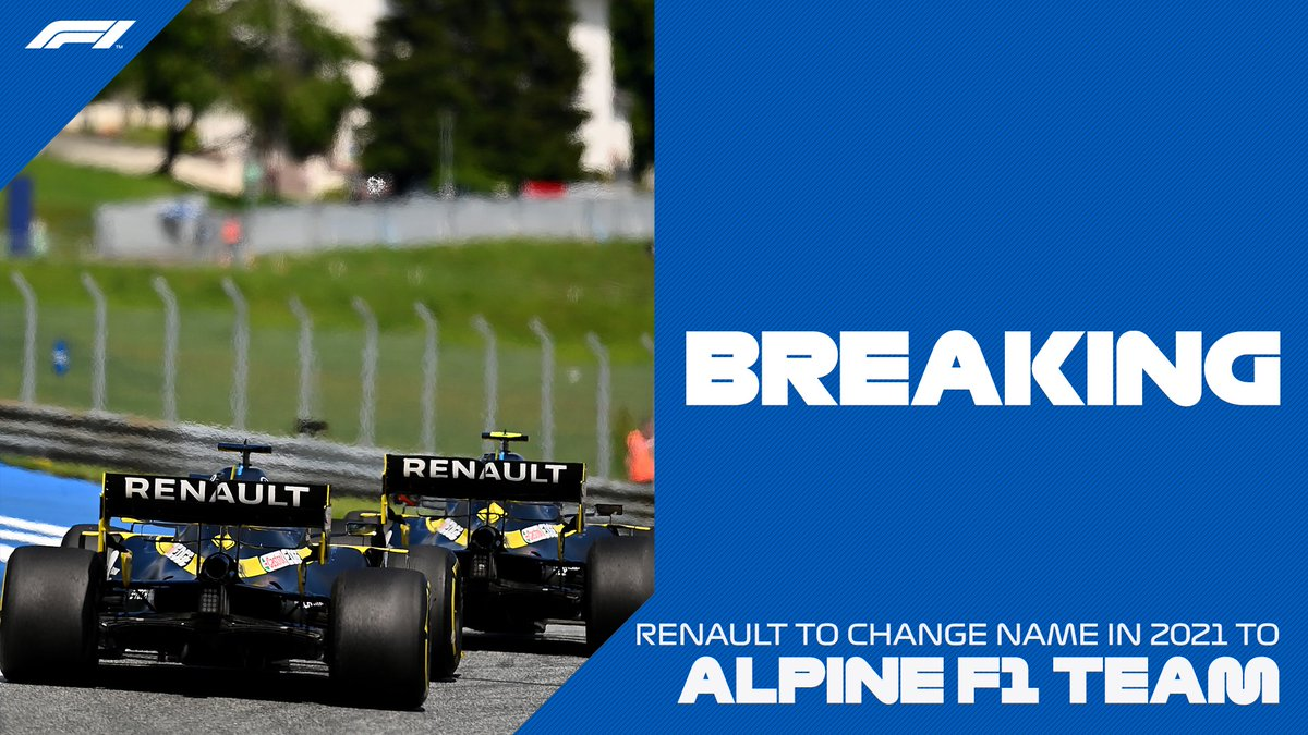 Formula 1 On Twitter Breaking Renault Will Become Alpine F1 Team From 2021 And Introduce A New Colour Scheme Featuring The French National Colours Of Blue Red And White F1 Renaultf1team Https T Co Vrwan9ygrp