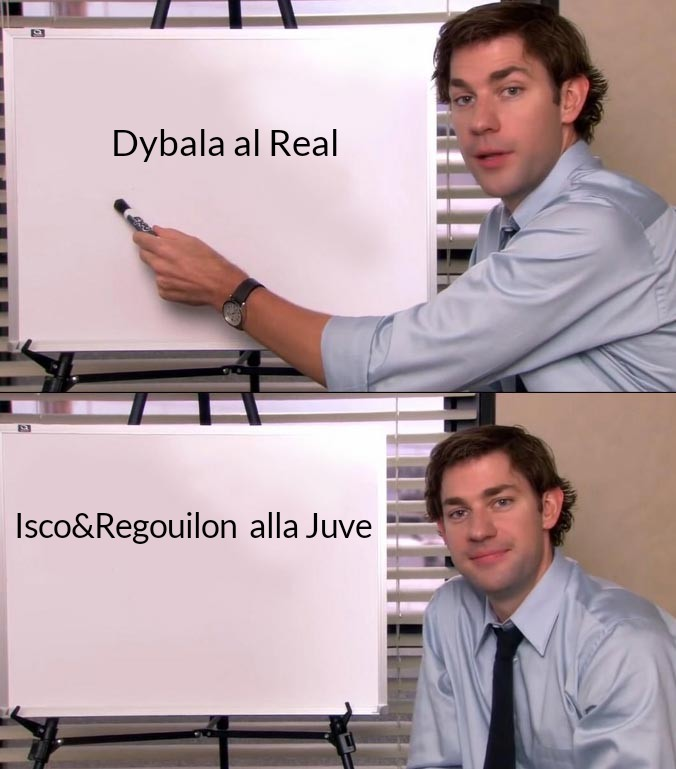 Consigli di Mercato #Juventus Mi sono permesso di agevolare una foto che spiega la Mandrakata o Fagianata del Mercato 20/21 #Dybala #Isco #Regoulion https://t.co/xy6u2NX7mb