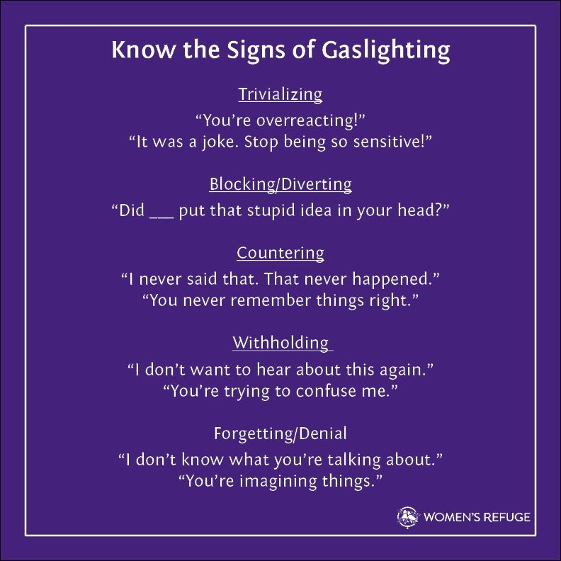 How to identify when you might be experiencing gaslighting.  Reading these makes me realise how often this can and does happen. Important insight via @womensrefugenz https://t.co/Z8ZwPHpEsq
