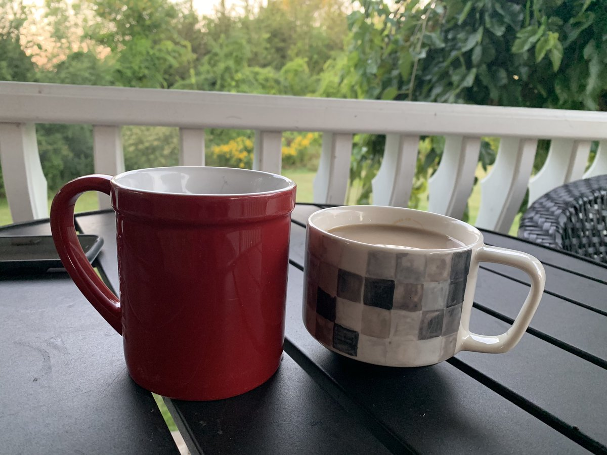 It may only be 7 degrees, but we are persevering with front porch coffee!  The days of front porch sitting are waning so we make the most of it while we can.  Mind you, we have long pants and jackets on & I may soon be seeking a blanket too!#helloautumn #lovethisweather #PEC https://t.co/9MUQCkVV3Q