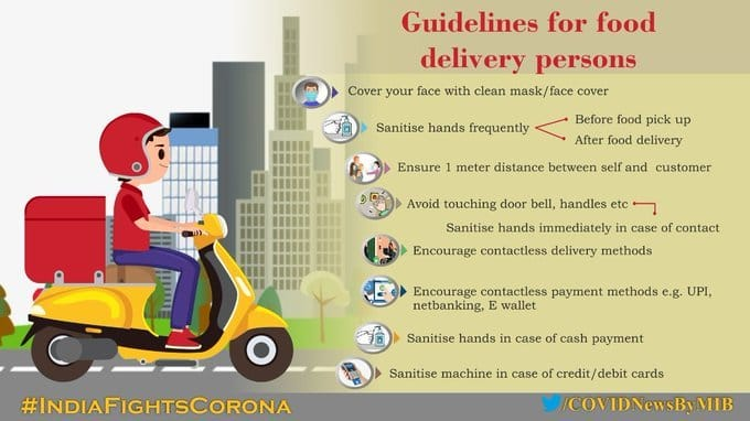 #IndiaFightsCorona:  📍Guidelines for food delivery persons during #COVID19👇  #StaySafe #IndiaWillWin https://t.co/z0NNoQ2MOn