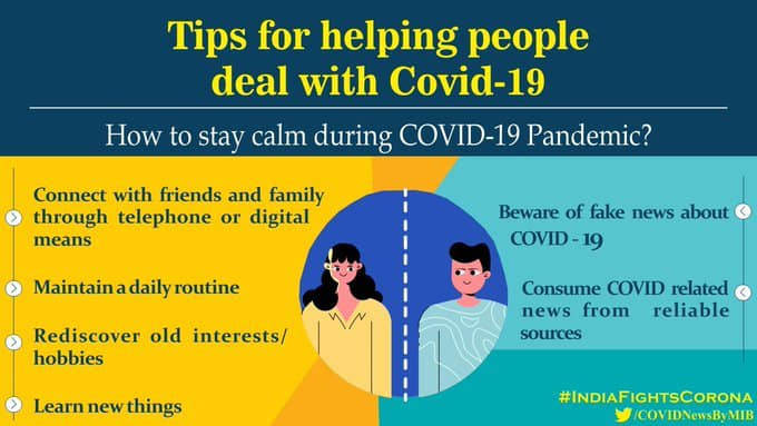 #IndiaFightsCorona:  📍Tips for helping people deal with #COVID19 ➡️How to stay calm during #COVID19Pandemic❓  📍Tips for helping children deal with #COVIDー19 ➡️How can we help children cope with this difficult situation❓  #StaySafe #IndiaWillWin https://t.co/LIfPNZ1Inv