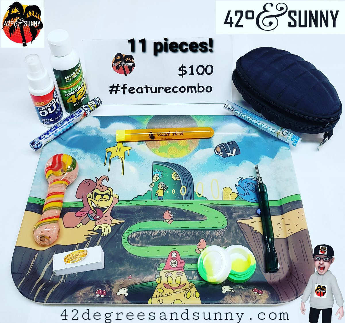 Sunny Sunday #featurecombo! 11 pieces for $100! #formula420 #smogout #biodegradable #rollingtray #grenade #case #nectarcollector #oilslick #spoonpipe #filtertips #doobtube #clearcones x2 #smokingdeals on #smokingaccessories #headshop #headshoplife #420friendly #420andsunny https://t.co/WAtqE45Xgv