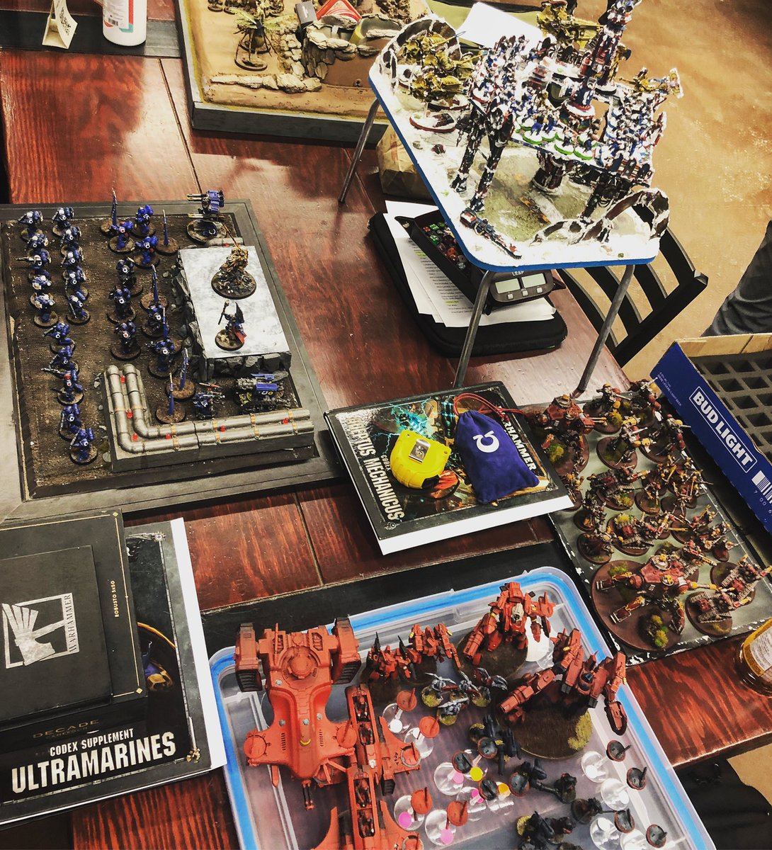 Readying the armies for our #Warhammer Tournament today. #GameFace 💪  . #gamesworkshop #citadelminiatures #warhammerfantasy #warhammerageofsigmar #warhammer40000 #warhammer40k #horusheresy #middlehammer #oldhammer #themonstermerchants #forgeworld #wargaming #roleplaying https://t.co/m25KnHxyQ5