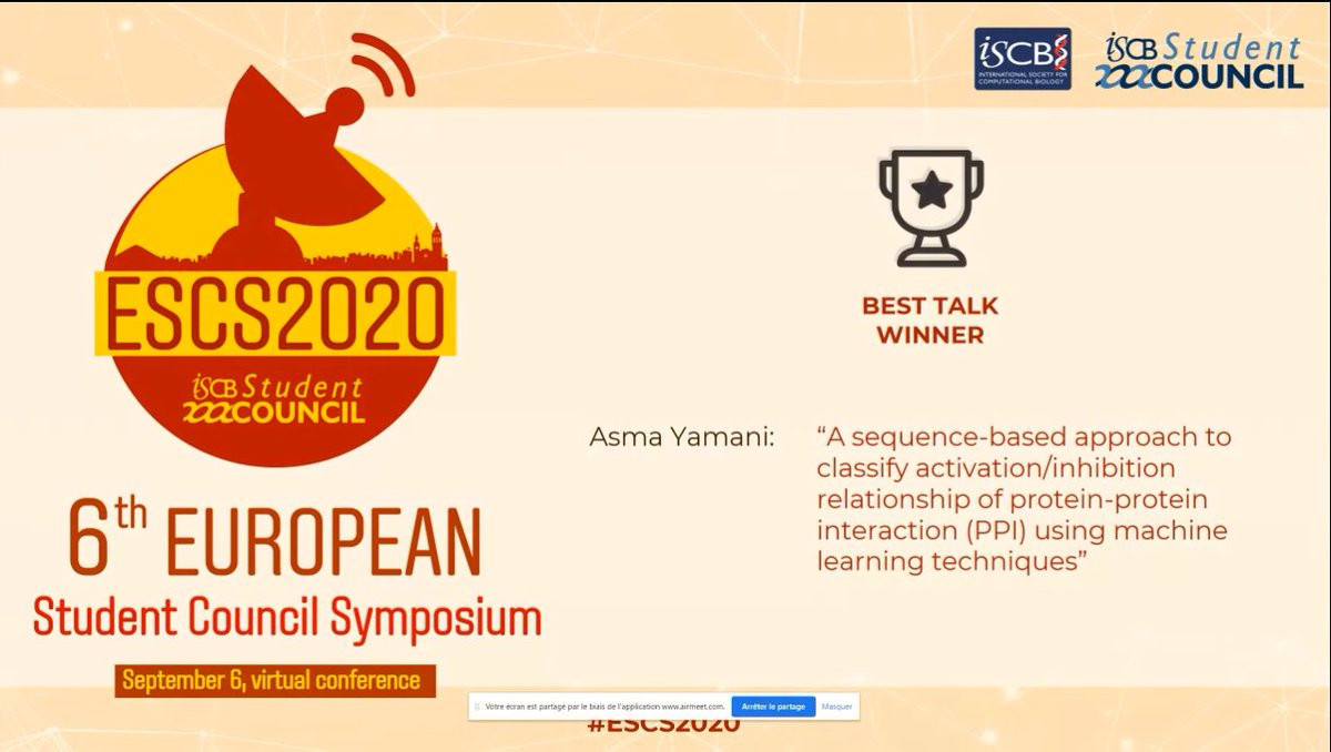 Its time for the presentations 🎉🏆  Winner for the best talk presentation is Asma Yamani  @azyamani (from @KFUPM)    @iscbsc #ESCS2020 #Bioinformatics #ComputationalBiology #MachineLearning https://t.co/6rdqG1APfe https://t.co/mjMw4tlW5r