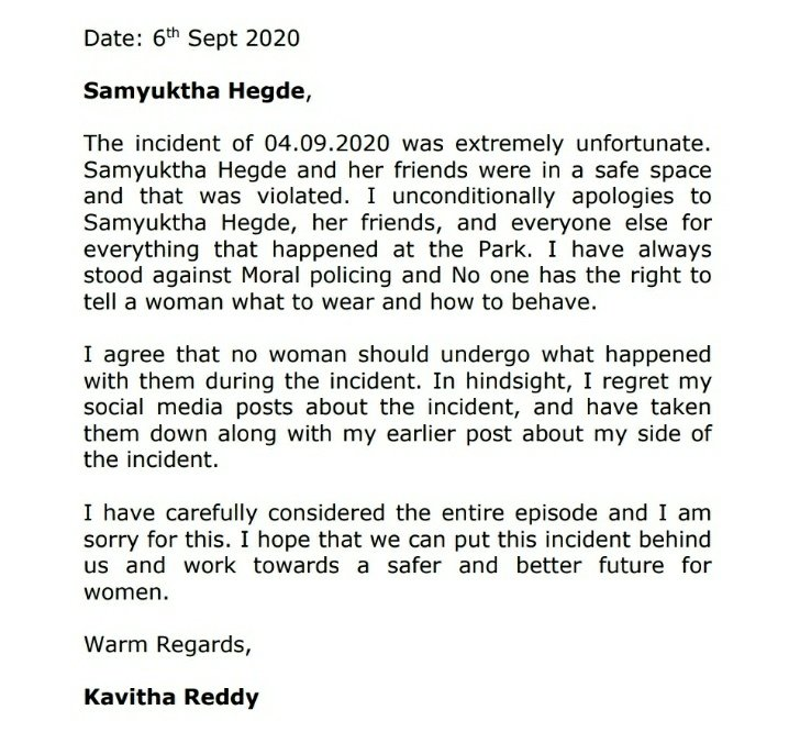 Apologies accepted Ms Kavitha Reddy. I hope we can all move forward from the incident and make women feel safe everywhere. #ThisIsWrongtoThisIsRight  #ApologiesAccepted Thank you, Advocates Maitreyi Bhat & Arjun Rao for your support. https://t.co/t6dC75lvql