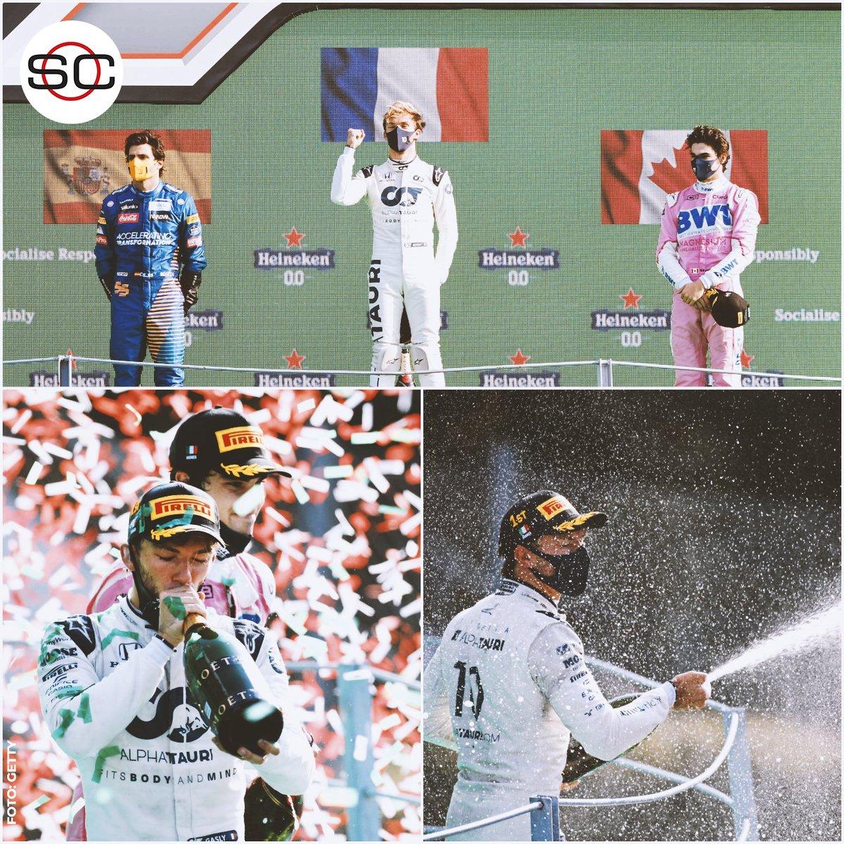 ¡Podio atípico! 🔥 1⃣Pierre Gasly 🇫🇷 2⃣Carlos Sainz 🇪🇸 3⃣Lance Stroll 🇨🇦 Sin Mercedes, Ferrari y Red Bull 😱 bit.ly/3lRM8ac