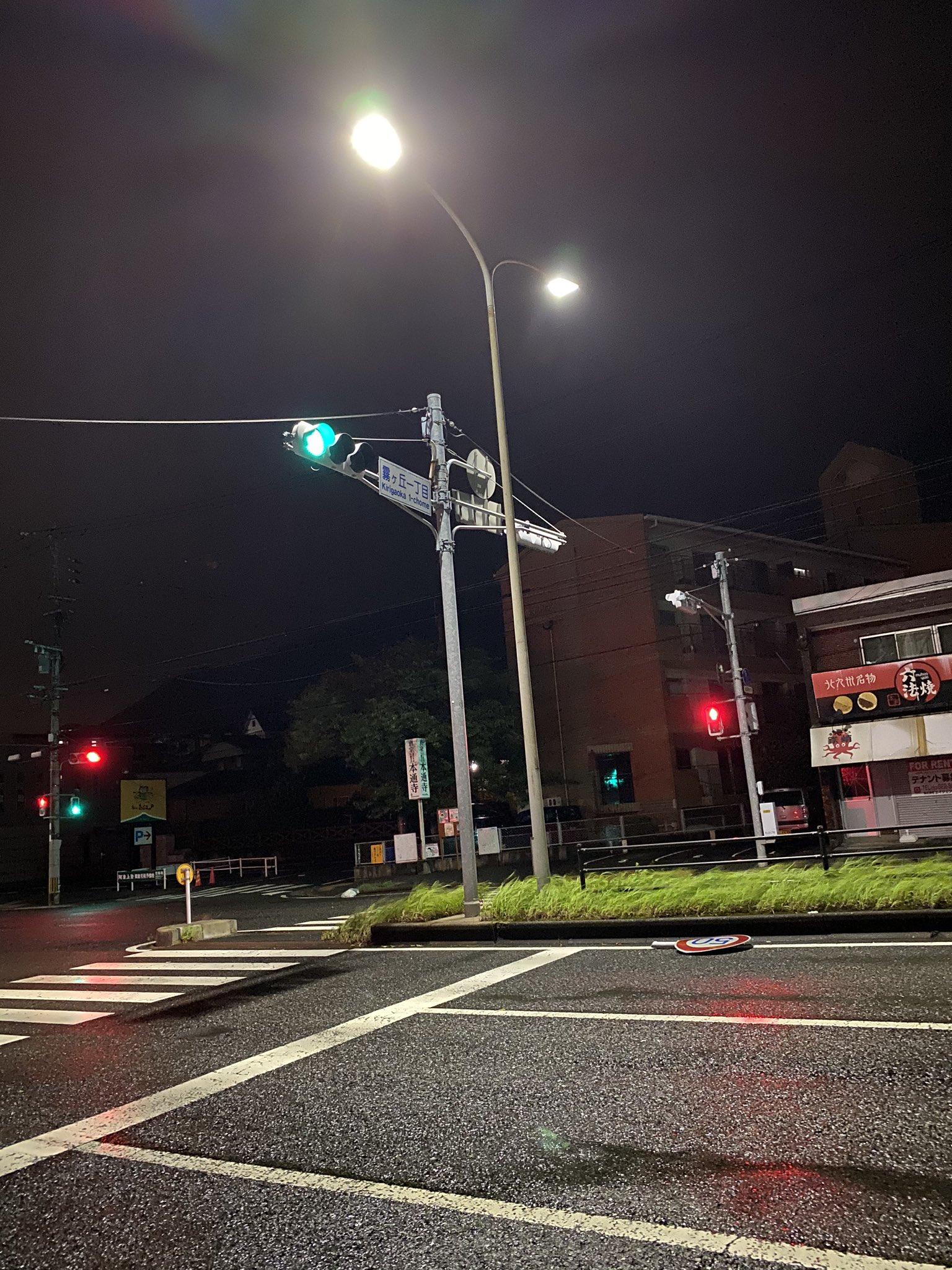 台風10号の被害で福岡市内の標識が取れている画像