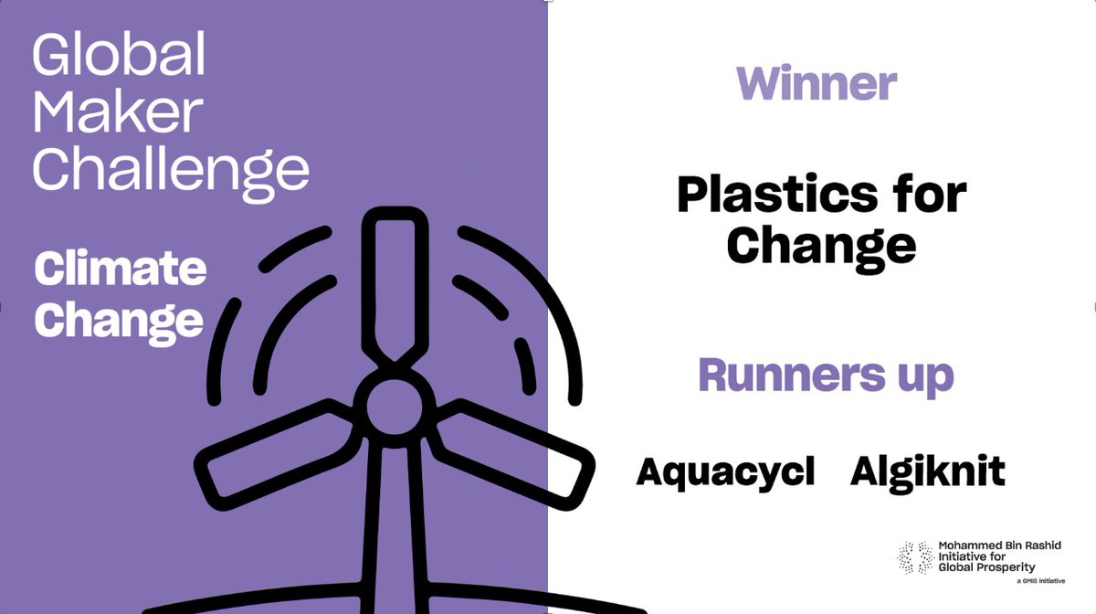 We are delighted to announce @Plastics4change as the WINNER of this year's #GlobalMakerChallenge Climate Change category with @Aquacycl and @algiknit  as RUNNERS UP. #Make4Prosperity #MakeItForward #ClimateChange #betterplanet #zerocarbon #SDG13