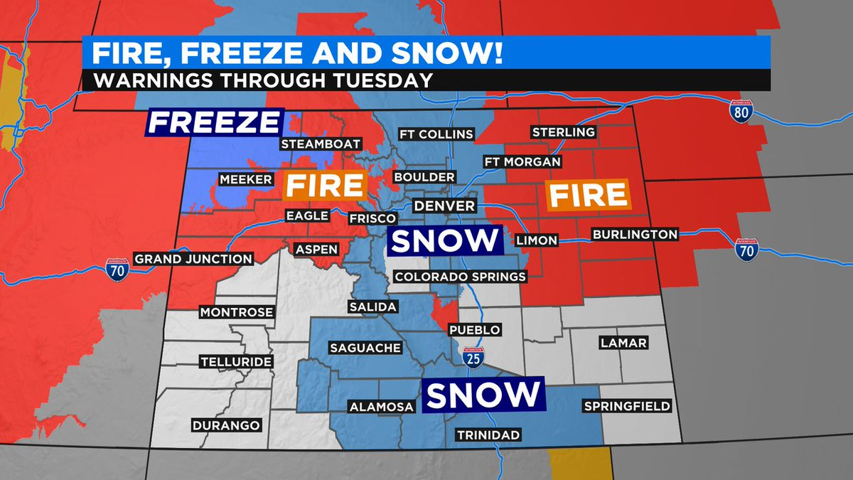 """Dave Aguilera on Twitter: """"Warnings for fire, freeze and snow over Colorado  now thru Tuesday! #cowx #4wx @ChrisCBS4 @AshtonCBS4 @LaurenCBS4… """""""