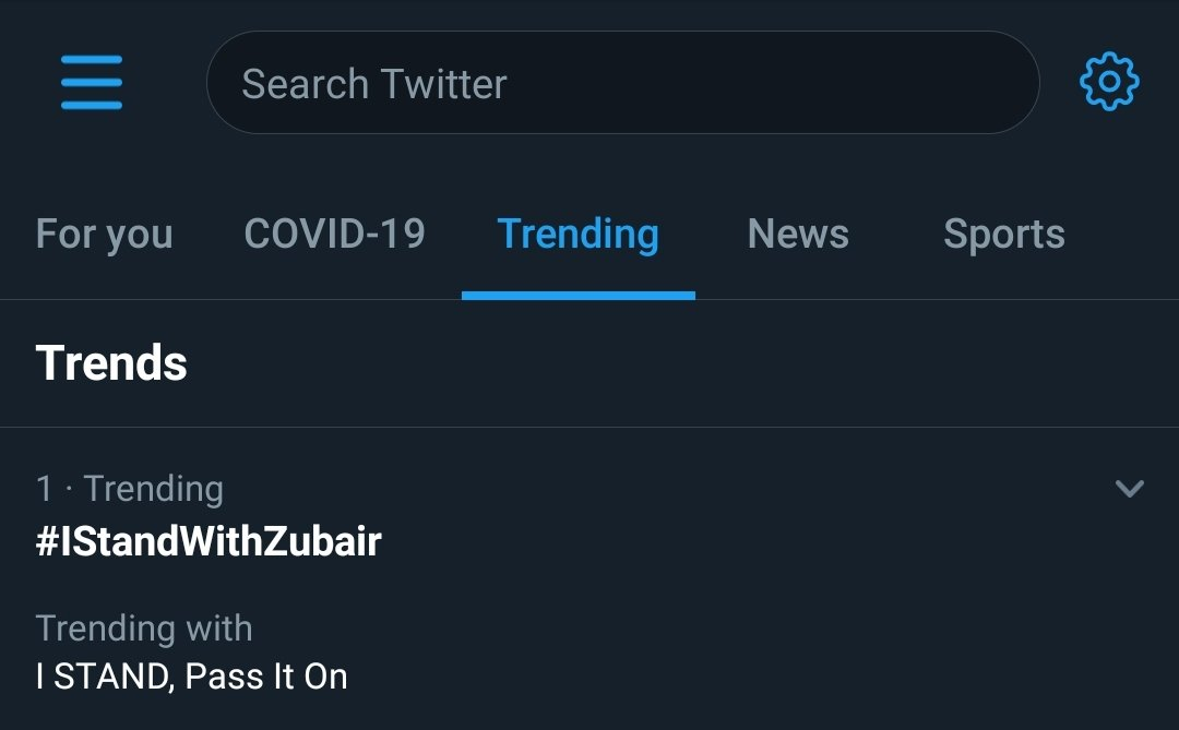 Thanks a lot for the support.  #IStandWithZubair https://t.co/oQLDgAUeND
