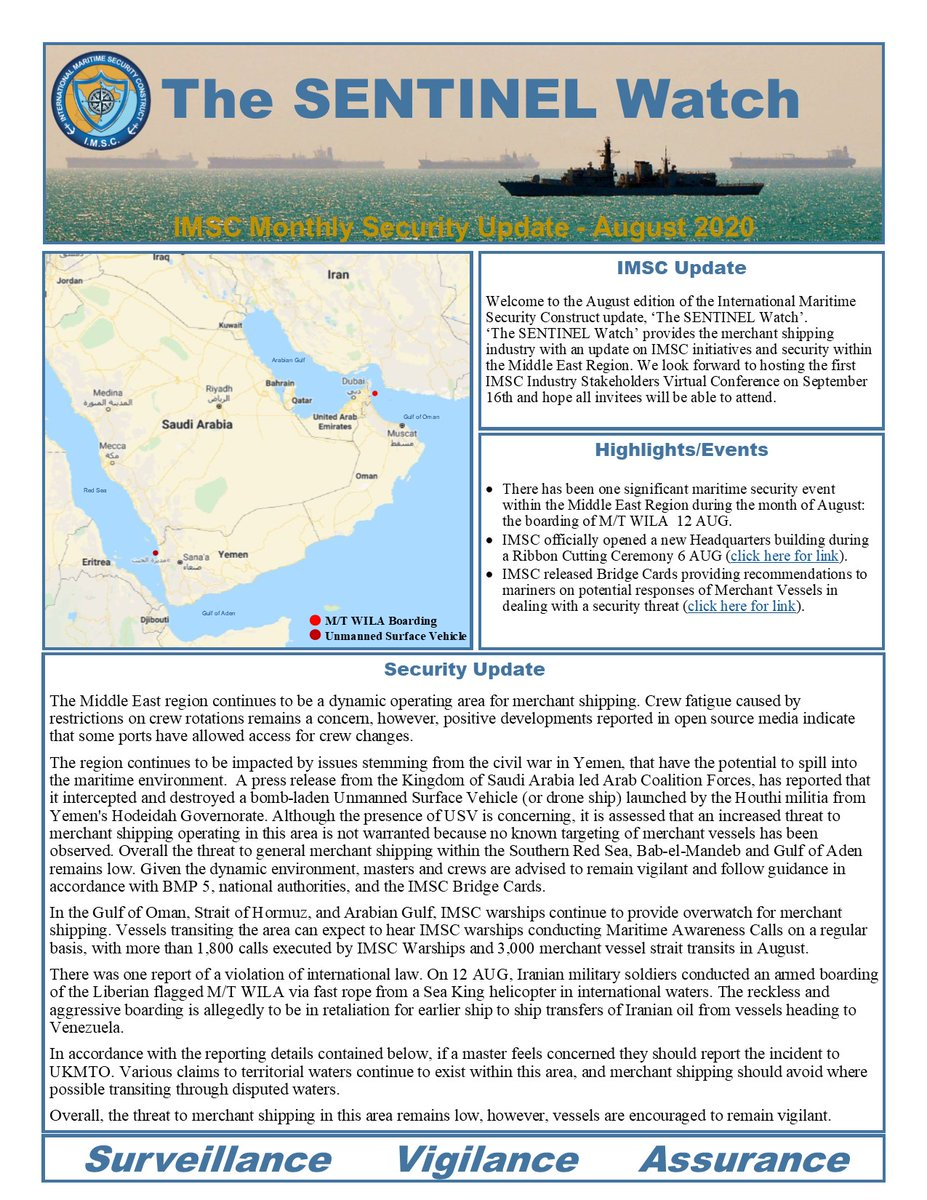 Our second edition of The SENTINEL Watch is here. @IMSC_Sentinel continues to provide monthly security updates to the merchant shipping industry. Link to recent news, CTF Sentinel initiatives and security awareness within the Middle East region. #GulfSecurity 🇦🇱🇦🇺🇧🇭🇸🇦🇱🇹🇦🇪🇬🇧🇺🇸