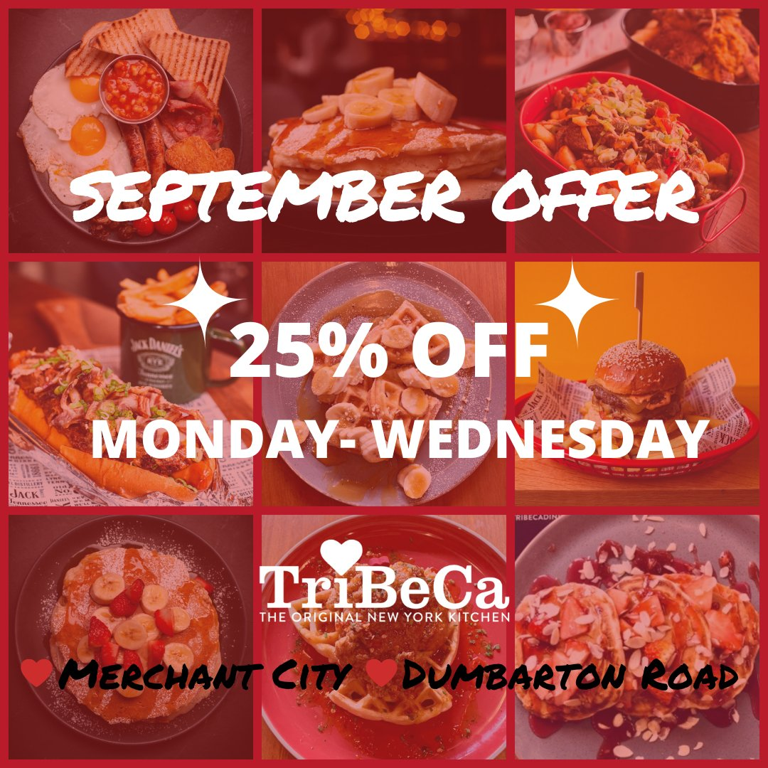 The discounts continue at TriBeCa with 25% OFF your food bill every #Monday, Tuesday & Wednesday in September 👏🎉  You can book online now 👉  ❤️🍴