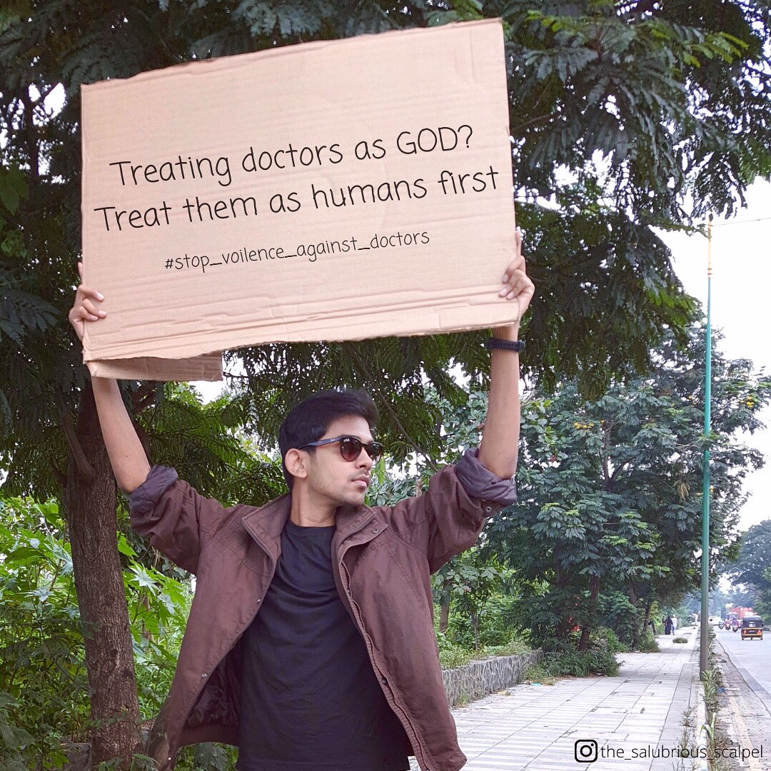 God? nah! Let doctors be humans !  . . . . . .  #stop_voilence_against_doctors #medico #medicine #medicalstudent #doc #doctor #doctorsofinstagram #residency #residencylife #hospital #hospitallife #doctorlife #savethesaviour #indianhospital #sign #signboard https://t.co/WOSlFnSnCF