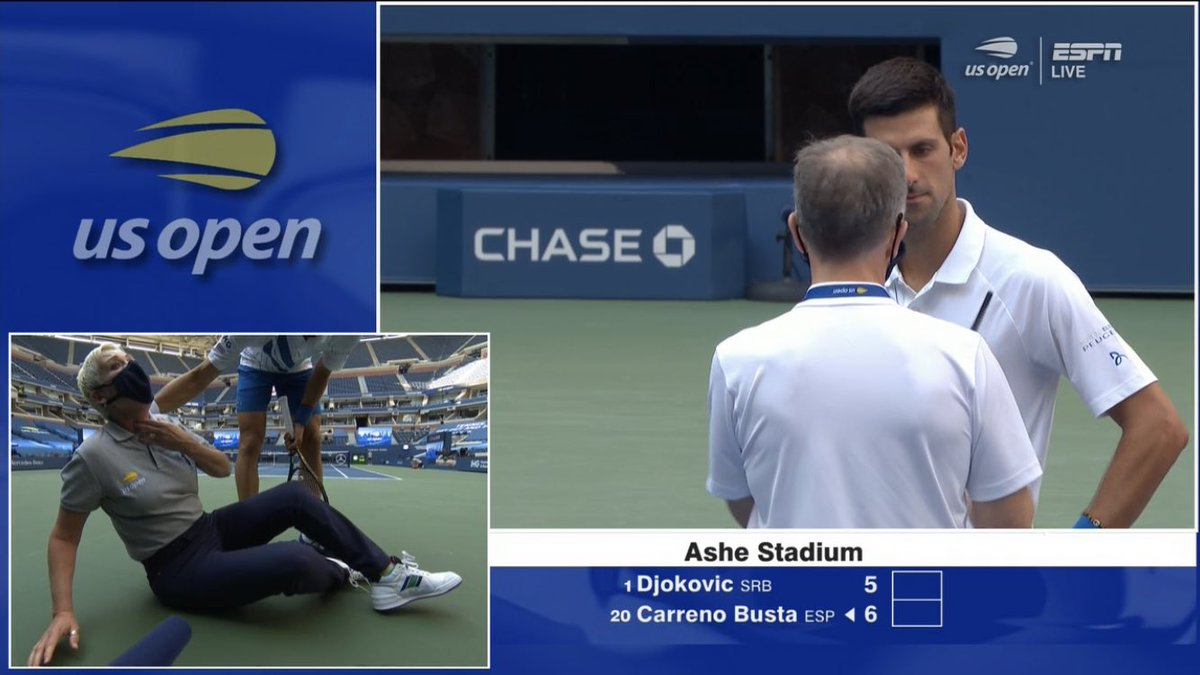 Ashish Malhotra On Twitter Incredible Djokovic Defaulted Out Of The Us Open After Hitting A Lineswoman In The Throat With The Ball Hope She S Ok There Will Be New Men S Grand Slam